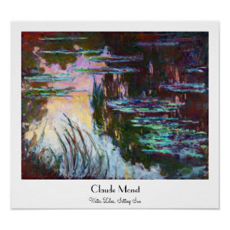 Lirios de agua, sol poniente Claude Monet Póster