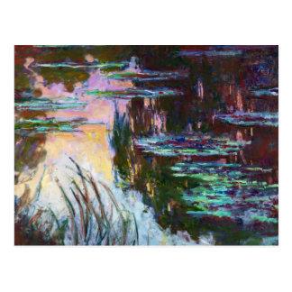Lirios de agua, sol poniente Claude Monet Tarjeta Postal