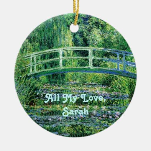 Lirios de agua y ornamento japonés del puente adorno navideño redondo de cerámica