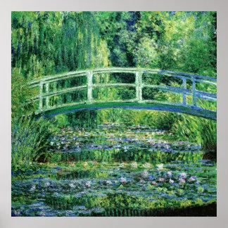 Lirios de agua y puente japonés, Claude Monet Póster