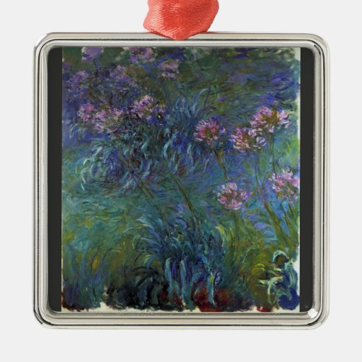 Lirios de la joyería de Claude Monet Adorno Cuadrado Plateado