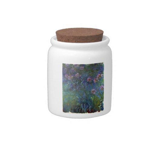 Lirios de la joyería de Claude Monet Plato Para Caramelo