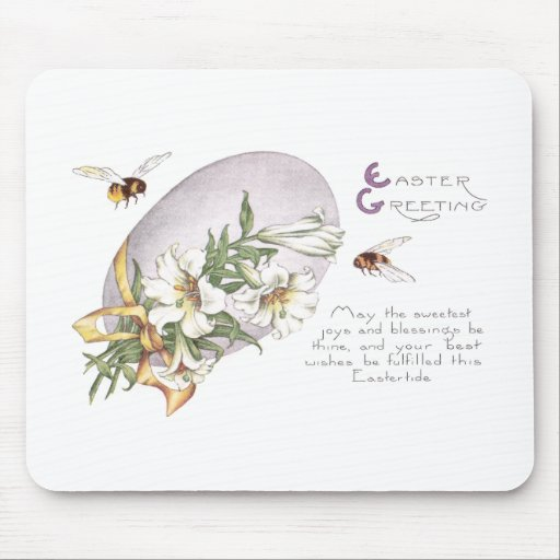 Lirios de pascua, abejas y huevo de Pascua Tapetes De Ratón