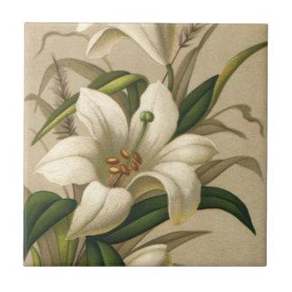 Lirios de pascua del vintage, flores del Victorian Azulejo Cuadrado Pequeño