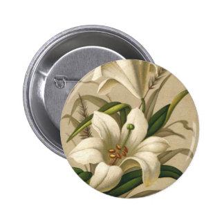 Lirios de pascua del vintage, flores del Victorian Pin Redondo De 2 Pulgadas