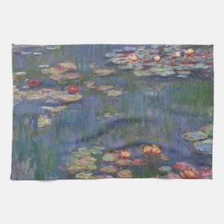 Lirios del agua de Claude Monet Toalla De Mano