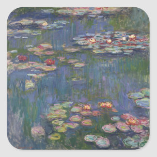 Lirios del agua de Claude Monet Pegatina Cuadrada