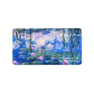 Lirios del agua de Monet Etiquetas De Dirección