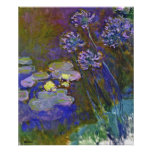Lirios del agua de Monet y Agapanthus Impresiones