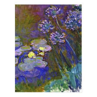 Lirios del agua de Monet y Agapanthus Postal