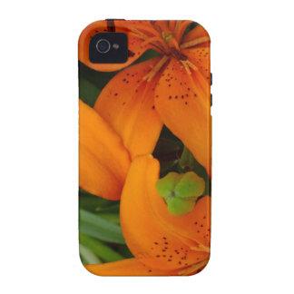 Lirios japoneses anaranjados vibe iPhone 4 funda