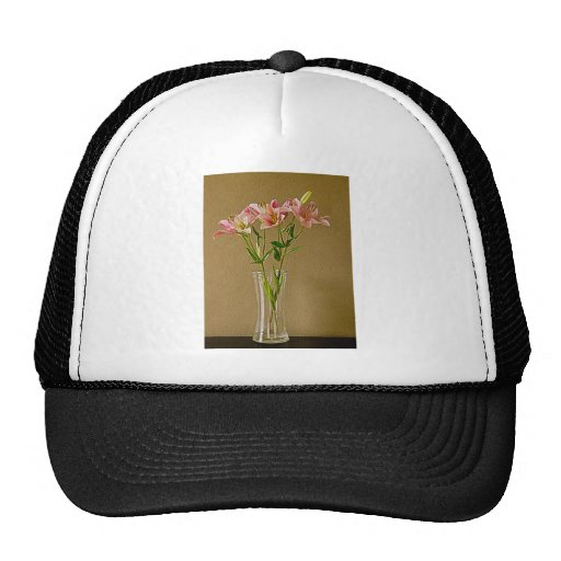 Lirios rosados del Stargazer en florero Gorros