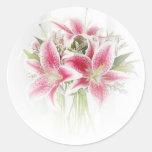 lirios tigrados rosados y blancos etiquetas redondas