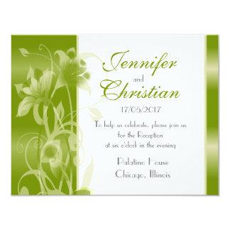 """Lirios verdes calientes que casan los efectos de invitación 4.25"""" x 5.5"""""""