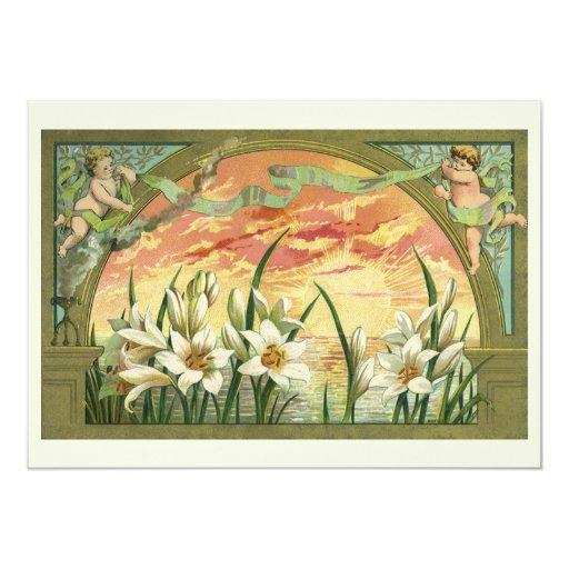 Lirios y ángeles de pascua del vintage en la invitación 12,7 x 17,8 cm