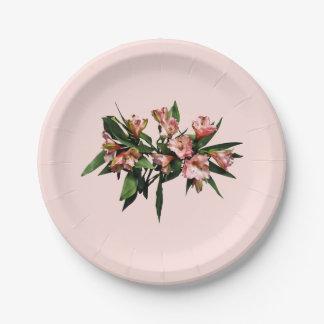 Lirios y hojas asiáticos platos de papel
