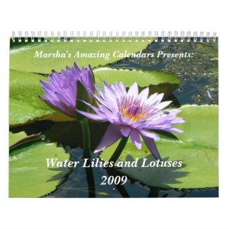 Lirios y lotos de agua calendario de pared