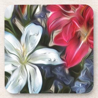 Lirios y orquídeas abstractos de la impresión posavasos