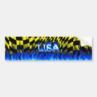 Lisa blue fire and flames bumper sticker design