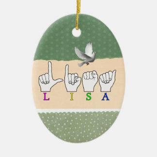 LISA  FINGERSPELLED ASL NAME SIGN FEMALE ORNAMENTS