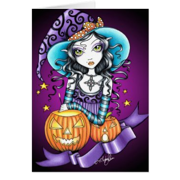 Halloween Themed Lisa Gothic Halloween Witch Card