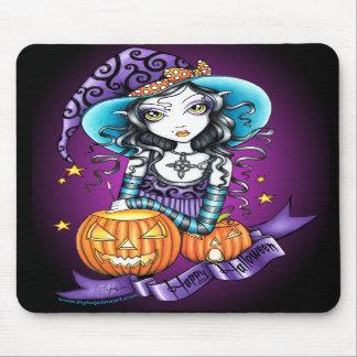 """""""Lisa"""" Halloween Pumpkin Witch Mousepad"""