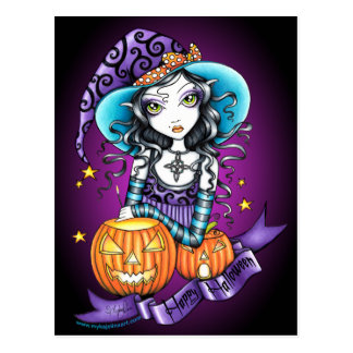 """Lisa"" Halloween Pumpkin Witch Postcard"