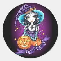 halloween, witch, pumpkin, fairy, faerie, myka, jelina, fantasy, stars, Sticker with custom graphic design
