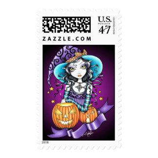 Lisa Magical HALLOWEEN Pumpkin Witch Postage Stamp