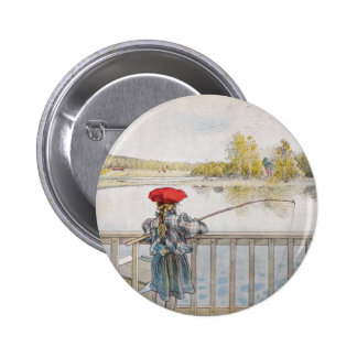 Lisbeth a Little Girl Fishing by Carl Larsson Button