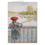 Lisbeth a Little Girl Fishing by Carl Larsson Greeting Card