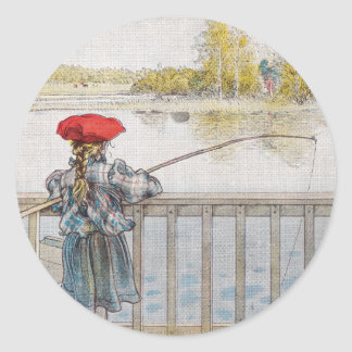 Lisbeth a Little Girl Fishing by Carl Larsson Classic Round Sticker