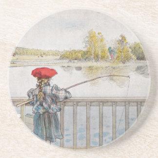 Lisbeth a Little Girl Fishing by Carl Larsson Drink Coaster
