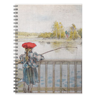 Lisbeth a Little Girl Fishing by Carl Larsson Spiral Notebook