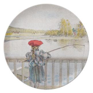 Lisbeth a Little Girl Fishing Dinner Plate