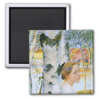 Lisbeth  at the Birch Trees 2 Inch Square Magnet