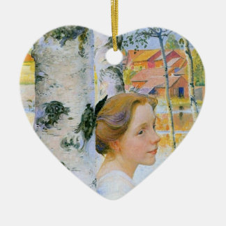 Lisbeth  at the Birch Trees Double-Sided Heart Ceramic Christmas Ornament