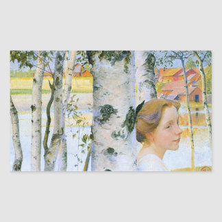 Lisbeth  at the Birch Trees Rectangular Sticker