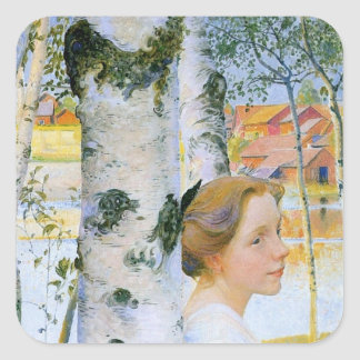 Lisbeth  at the Birch Trees Square Sticker