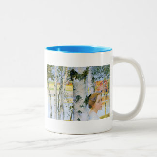 Lisbeth  at the Birch Trees Two-Tone Coffee Mug