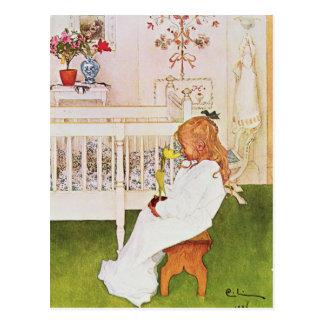 Lisbeth con un tulipán amarillo postal