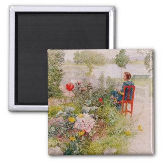 Lisbeth en el jardín de flores imán para frigorifico