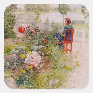 Lisbeth en el jardín de flores calcomanía cuadradas personalizadas