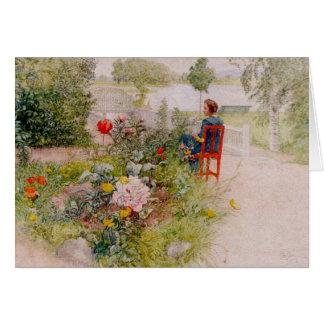 Lisbeth en el jardín de flores tarjeta de felicitación