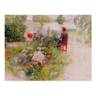 Lisbeth en el jardín de flores tarjetas postales
