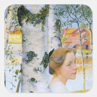 Lisbeth en los árboles de abedul pegatina cuadrada
