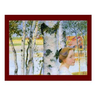 Lisbeth en los árboles de abedul postales