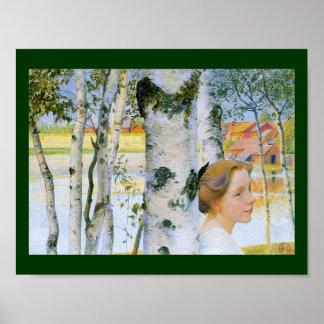 Lisbeth en los árboles de abedul póster