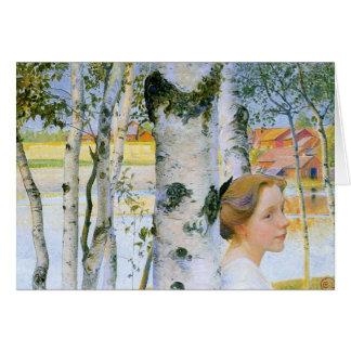 Lisbeth en los árboles de abedul tarjeta