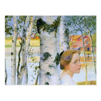 Lisbeth en los árboles de abedul postal